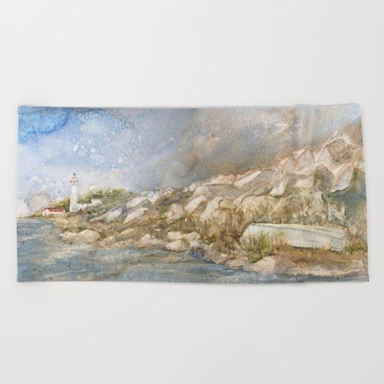 Little Manitou Island Lighthouse Beach Towel