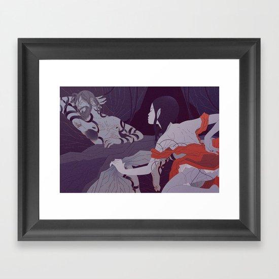 Ruth Uncovers Boaz's Feet (by Gloria Pizzilli) Framed Art Print