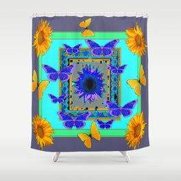 WESTERN BLUE & YELLOW BUTTERFLIES SUNFLOWERS Shower Curtain