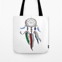 dreamcatcher Tote Bags featuring Dreamcatcher by Ina Spasova puzzle