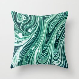 Green and while marble pattern Throw Pillow