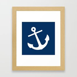 Navy Blue Anchor Framed Art Print