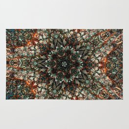 Colorful Stained Spun Glass Window Kaleidoscope Rug