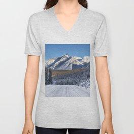 Winter Wonderland - Road in the Canadian Rockies Unisex V-Neck