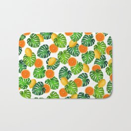 Oranges Lemons Monstera White Bath Mat