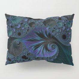 Blue and Black Fractal Pillow Sham