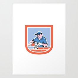 Bricklayer Mason Plasterer Worker Cartoon Art Print