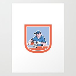 Bricklayer Mason Plasterer Worker Cartoon Art Print