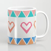 knit Mugs featuring Heart Knit  by minniemorrisart