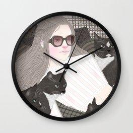 Hey there kitty! GREY Wall Clock