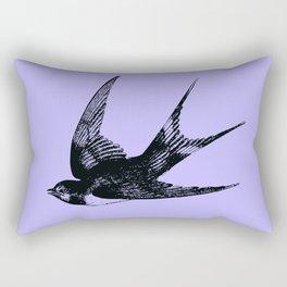 Swallow on Blue Rectangular Pillow