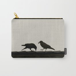 Two Crows on a Rooftop - Graphic Birds Series, Plain - Modern Home Decor Carry-All Pouch