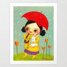 Rainy Day Bunny by tascha Art Print