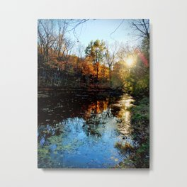 Sunset on a Pond in Autumn Metal Print