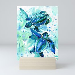 Turquoise Blue Sea Turtles in Ocean Mini Art Print