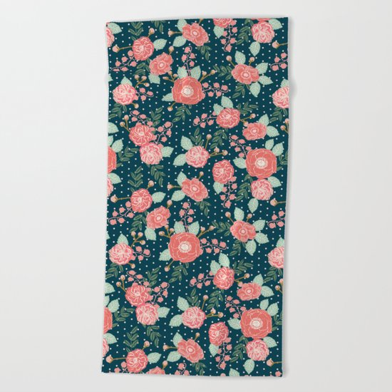 Florals boho modern watercolor blooming blossom garden nature summer spring navy pink white Beach Towel