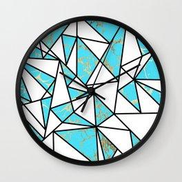 Modern faux gold aqua geometrical marble Wall Clock