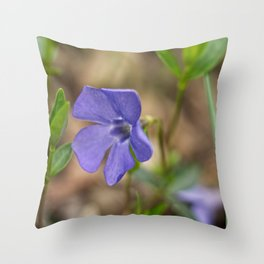small blue flower in the forest Throw Pillow