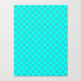 Cyan and Turquoise Checkerboard Canvas Print