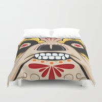 pit bull Duvet Covers featuring Pit Bull Sugar Skull by Granman