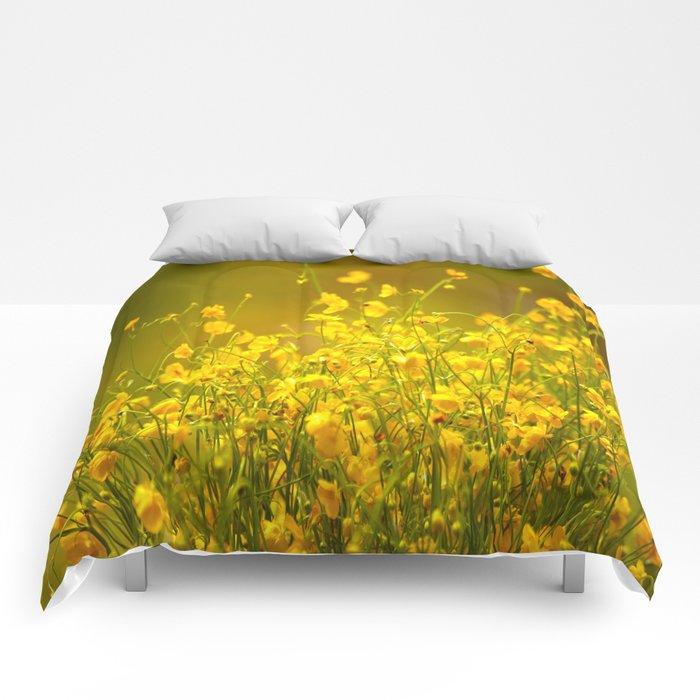 Yellow Mellow Flowers #decor #society6 Comforters