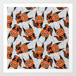 Funny orange monster Art Print