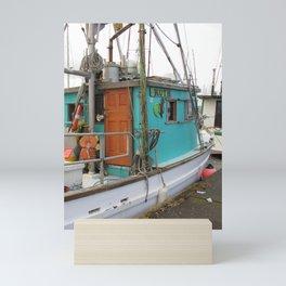 Ruth in Aqua and White Mini Art Print