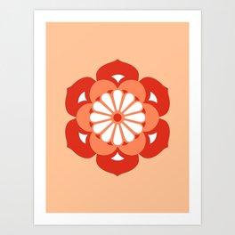 Lotus Flower Mandala, Pastel Orange and Mandarin Art Print