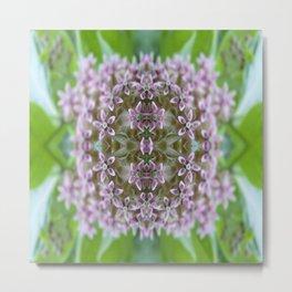 Kaleidoscope Pink Milkweed Flower Macro Photograph Metal Print