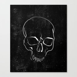 Anti Capitalism Black Skull Political Art Print Canvas Print