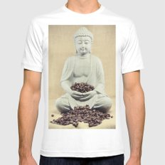 Coffee beans Buddha 3 White Mens Fitted Tee LARGE