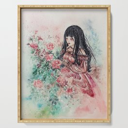 Rose Girl (Watercolor) Serving Tray