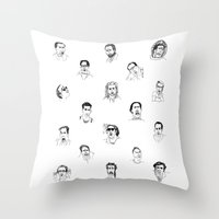 nicolas cage Throw Pillows featuring 100 Portraits of Nicolas Cage by Madelin Woods