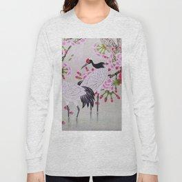 Chinese - Crane and Sakura Long Sleeve T-shirt
