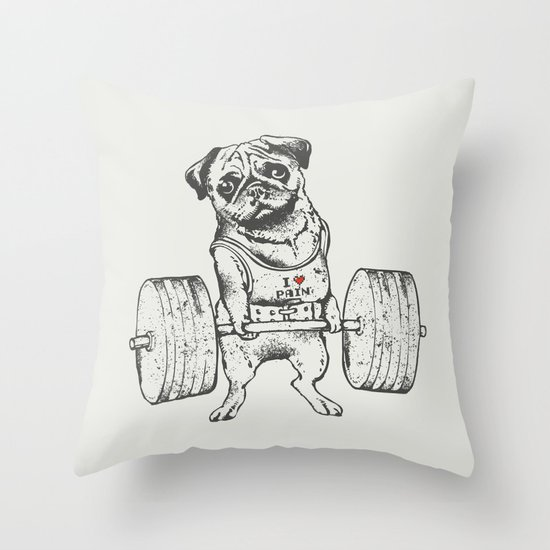 Pug Lift Throw Pillow