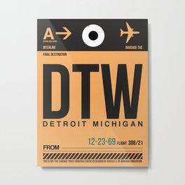 DTW Detroit  Luggage Tag 1 Metal Print