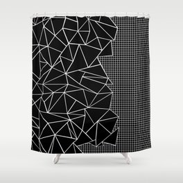 Abstract Grid Outline White on Black on Side Shower Curtain