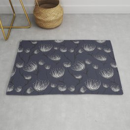 White Cassiopea in Navy Rug