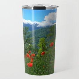 Wild poppies of the Pyrenees mountains Travel Mug