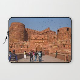 Agra Fort entrance with visitors and pigeons, India Laptop Sleeve