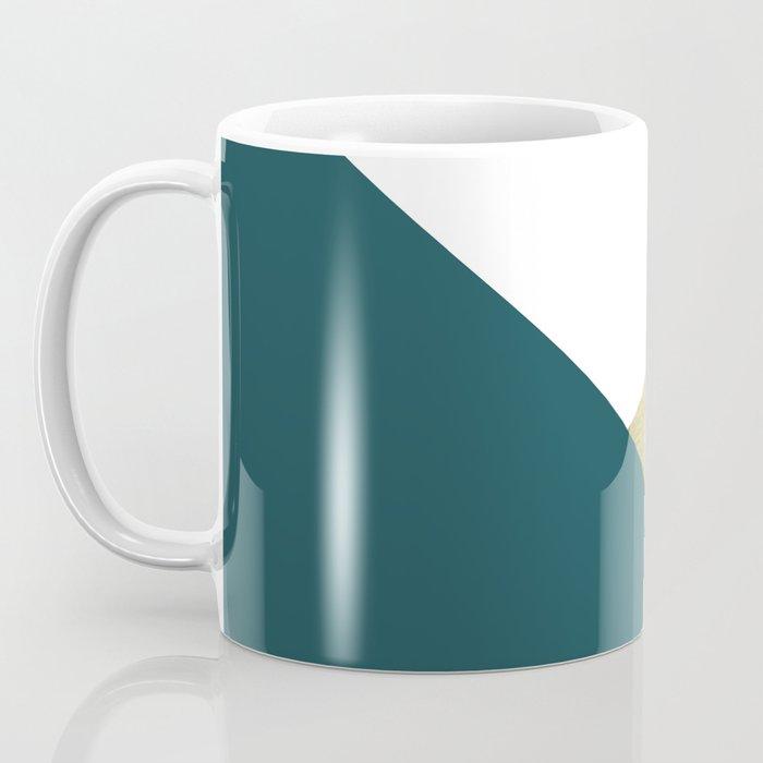 Teal gold geometric color block Coffee Mug