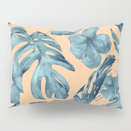 Island Life Hibiscus Palm Apricot Teal Blue Pillow Sham