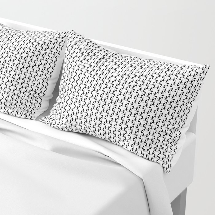 Black and White Basket Weave Shape Pattern 2 - Graphic Design Pillow Sham