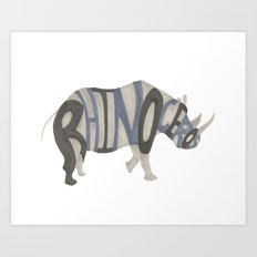 Rhinoceros Typography Art Print