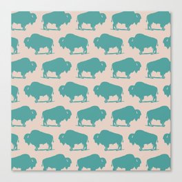 Buffalo Bison Pattern Turquoise and Beige Canvas Print