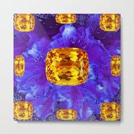 Golden Topaz Gems & Amethyst-Ultra-Violet Purple Color Metal Print