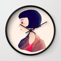 amelie Wall Clocks featuring Amelie by Nan Lawson