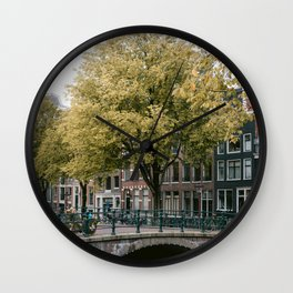 Bridge in the City Centre of Amsterdam, the Netherlands || Colourful travel photography wall art Cityscape Buildings Bridge Architecture Wall Clock
