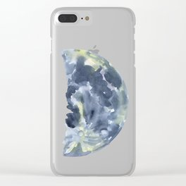 First Quarter Moon Watercolor Clear iPhone Case