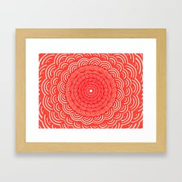 Spiral Mandala (RED) Curve Round Rainbow Pattern Unique Minimalistic Vintage Zentangle Framed Art Print